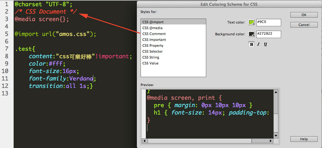 change dreamweaver code color comment