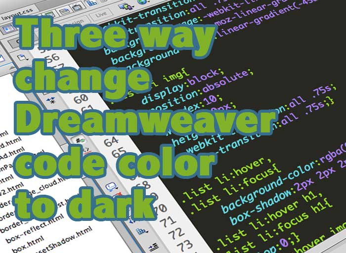 change dreamweaver code color cover