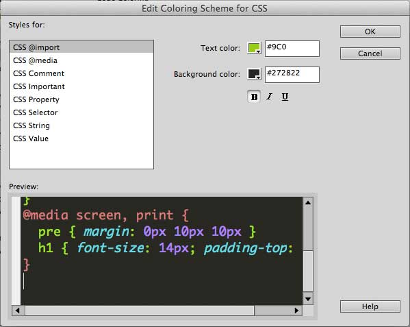 change dreamweaver code color css