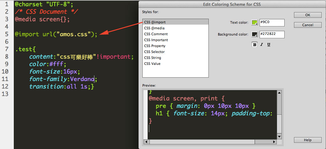 change dreamweaver code color import