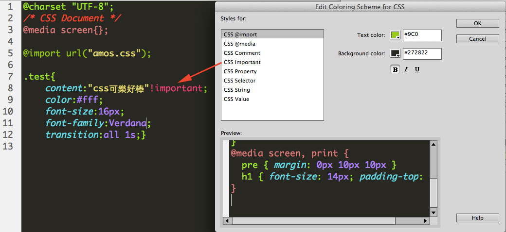 change dreamweaver code color important