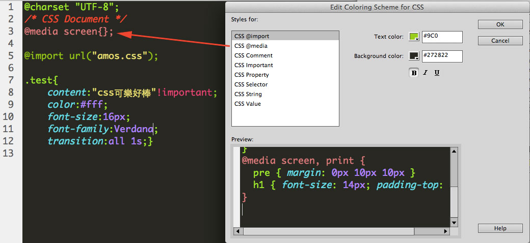 change dreamweaver code color media