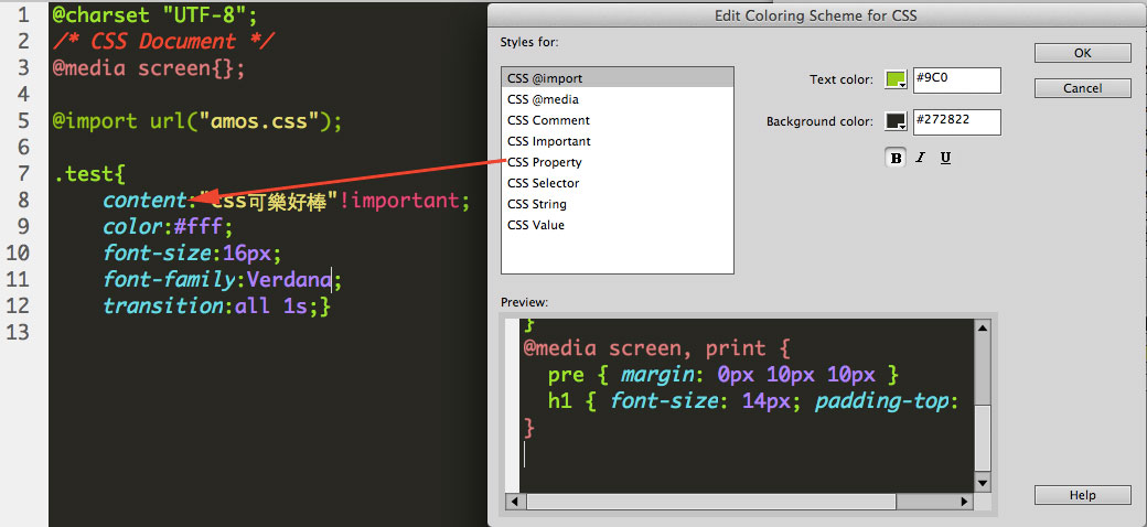 change dreamweaver code color properte