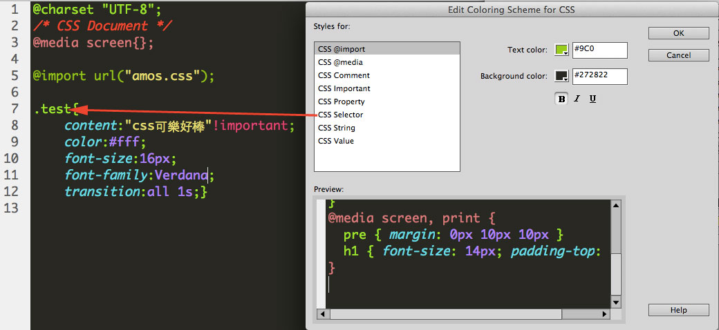 change dreamweaver code color select