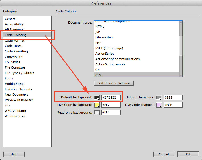 change dreamweaver code color setting2