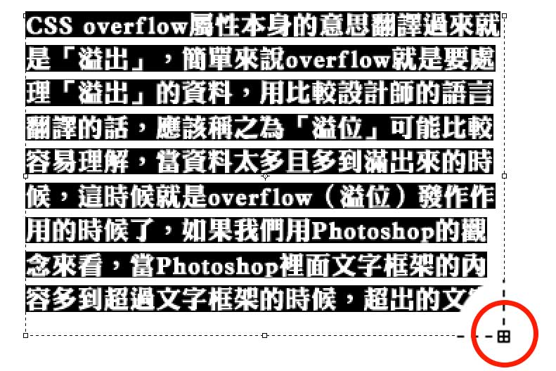 photoshop and css overflow